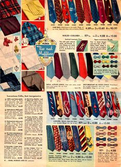 Vintage Men's Ties from a 1952 Sears catalog