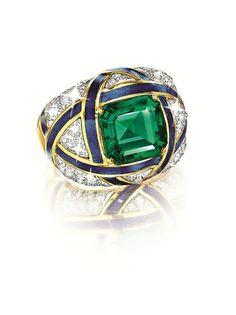 Cocktail Ring  - Fulco di VERDURA. 4.5ct Columbian emerald, diamond, platinum, gold and enamel.