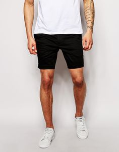 Shorts by ASOS Cotton twill Contains stretch for comfort Zip fly with bar  and button fastening Side pockets and two back pockets Skinny fit - cut  closely to ...