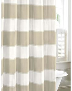 Guardhouse Stripe Cotton Shower Curtain - - Nautica