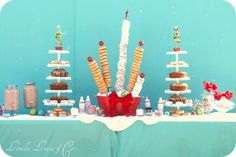 A kids Santa's Christmas Breakfast -This idea is for a Christmas breakfast party.  With donut towers!  And drinks for jar dispensers. Fun and help yourself for the kids. fun for kids and mom.