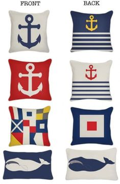 Ideas for Decorating a Nautical Home - seaside nautical design ideas Nautical Theme Decor, Nautical Design, Nautical Nursery, Nautical Home, Coastal Decor, Sailboat Decor, Nautical Interior, Nautical Style, Nautical Cushions