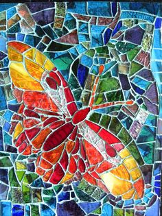 Butterfly mosaic Glass mosaic, mixed media X by Liisa Laakso Butterfly Mosaic, Mosaic Birds, Mosaic Wall Art, Glass Butterfly, Tile Art, Mosaic Mirrors, Mosaic Rocks, Mosaic Glass, Glass Art