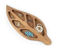 Walnut Ring Dish, Leaf Jewellery Holder, Wooden Trinket Bowl £27.50