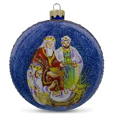 the wise mens gifts glass ball nativity christmas ornament 4 inches - Religious Christmas Gifts
