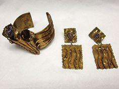 Ernandes Brazil Brass Cuff Bracelet Earrings Amethyst Jewelry Set 1970s Designer #Ernandes