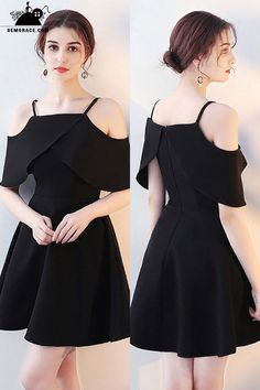 Cheap Homecoming Dresses Little Black Flare Homecoming Dress with Flounce Straps. - Cheap Homecoming Dresses Little Black Flare Homecoming Dress with Flounce Straps at GemGr - Trendy Dresses, Elegant Dresses, Nice Dresses, Short Dresses, Fashion Dresses, Casual Dresses, Cheap Dresses, Dresses Dresses, Cute Formal Dresses