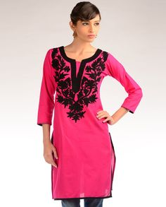 Fuchsia Tunic with Black Flowers