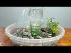 DiY - Waterfall Fountain At Home from Plastic Bottle - YouTube Plastic Bottle Tops, Plastic Bottle Crafts, Diy Waterfall, Waterfall Fountain, Diy Water Fountain, Indoor Fountain, Pen Holder Diy, Diy Lace Ribbon Flowers, Tabletop Fountain
