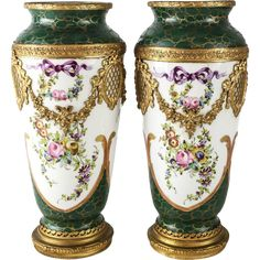 Pair of Sevres Style France Hand Painted Porcelain & Gilt Bronze Vases from gallery-xv on Ruby Lane