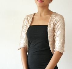 Gold Champagne Sequin Bolero Shrug Formal Wedding or Bridal Party, Holiday - Classic and Simple - EcoFriendly - SALLY, $95
