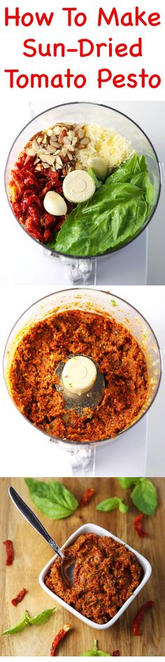 How To Make Sun-Dried Tomato Pesto - This can be made in 5 minutes and is way better than any store bought pesto! Add it to pasta, pizza, crostini... the possibilities are endless! #pesto #italianfood #glutenfree #healthy #healthyfood #vegetarian