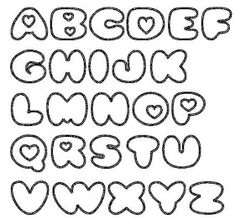 Alfabet met hartjes / Alphabet with hearts Bubble Letters Alphabet, Bubble Letter Fonts, Lettering Tutorial, Lettering Styles, Creative Lettering, Heart Font, Alphabet Templates, Handwriting Fonts, Beautiful Fonts