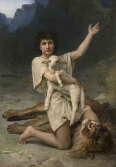 """The Shepherd David"" c 1895 by Elizabeth Jane Gardner Bouguereau, wife of painter William-Adolphe Bouguereau. Large-scale oil on canvas. She was the first American female artist to exhibit at the Paris Salon William Adolphe Bouguereau, Rey David, La Sainte Bible, Elizabeth Jane, David And Goliath, Bible Pictures, King David, Biblical Art, The Good Shepherd"