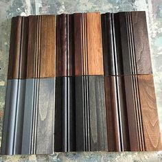 General Finsihes Gel Stains - top to bottom, left to right Antique Walnut, Brown Mahogany, Java Gray, Black, Candlelite The right side of each board is one coat wiped back, the left side is multiple coats for a more opaque look.