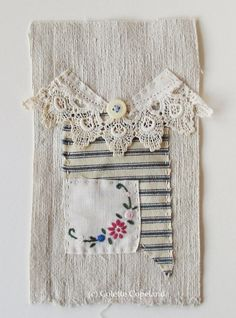 Textile art, stitched and embroidered, My Daughter's Dress No. 12, by Colette Copeland