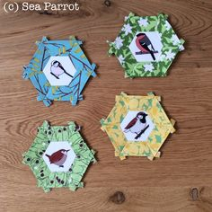 Garden bird and Spring flower hexie patchwork blocks. Original fabrics from Sea Parrot available from my online shop. Hexagon Patchwork, Patchwork Fabric, English Paper Piecing, Spring Flowers, Quilt Blocks, Parrot, Fabric Design, Charity, Quilting