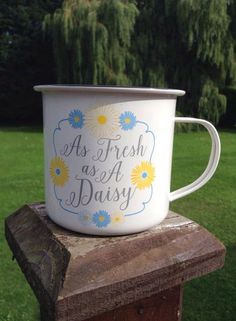 A range of gorgeous enamel mugs filled with fragrant Strawberry & Lily scented wax. These make perfect decorative candles for both indoor and outdoor use. Ideal for garden parties and those summer camping trips. Burn time approx. 30 hours.