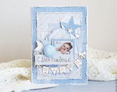 """Купить Открытка ручной работы """"С Днем рождения малыш"""" - голубой, для мальчика, малыш, нежность"""