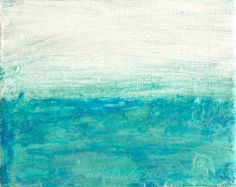 Small Abstract Painting Blue Duck Blue White by GwenDudaStudios, $40.00