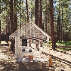 My macrame tent set up in the woods at @theuniquecamp last week. I am honored to have had the opportunity to teach so many wonderful people! #theuniqueCAMP If you took my class, please tag any photos of your pieces with #macramewithemily !!!