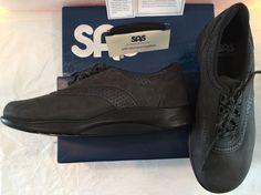 SAS Walk Easy Nero Charcoal Nubuck Shoes Women's 9W New In Box Black Suede #SAS #MaryJanes #Casual