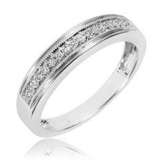 1/6 Carat T.W. Diamond Men's Wedding Band 14K White Gold