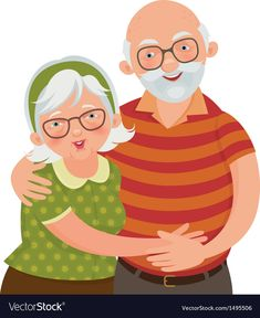 Happy old couple vector image on VectorStock Bible Drawing, Painting & Drawing, Kawaii, Logos Retro, Family Theme, Old Couples, Drawing Frames, Grandparents Day, Mothers Day Crafts