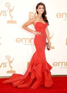 Cosmo cover girl Nina Dobrev in Donna Karan at 2011 Emmy Awards