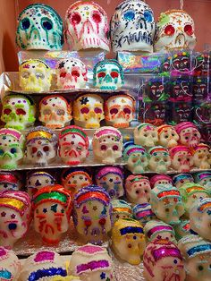 Day of the Dead sugar skulls. Dulces de México calaveritas de azucar  Toluca, Estado de México