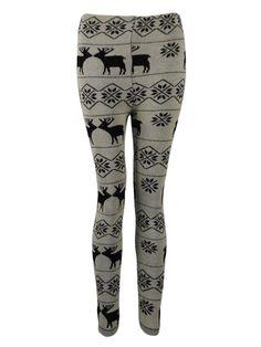 KarmaClothing Cream Knitted Aztec Nordic Reindeer Print Christmas Leggings