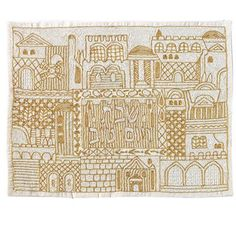 Yair Emanuel Hand Embroidered Challah Cover with Jerusalem City Design In Gold