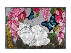 7X10 ORANGE TABBY CAT Kitty Floral Butterfly Stained Art Glass Suncatcher