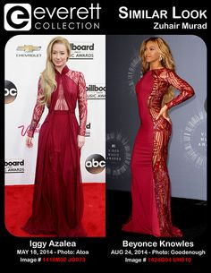 Iggy Azalea (wearing a Zuhair Murad gown) at arrivals for 2014 Billboard Music Awards – Arrivals Part 1, MGM Grand Garden Arena, Las Vegas, NV May 18, 2014. Photo By: James Atoa/Everett Collection *** Beyonce Knowles (wearing a Zuhair Murad gown) in the press room for MTV Video Music Awards (VMA) 2014 – Press Room, The Forum, Inglewood, CA August 24, 2014. Photo By: Elizabeth Goodenough/Everett Collection