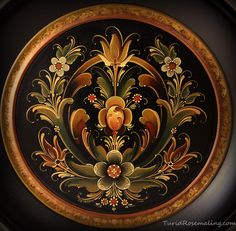 Plate painted by Turid Helle Fatland, Norway Rogalandstyle
