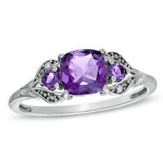 6.0mm Cushion-Cut Amethyst and Diamond Accent Ring in 10K White Gold