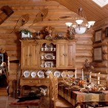 Dining room even has a comfy place for Fido   Handcrafted Chink Style Log Home   Caribou Creek Log and Timber