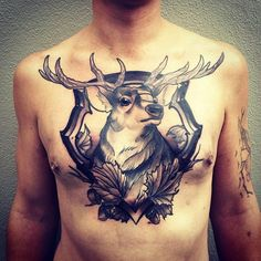 Deer Tattoo Chest tattoo done by pari corbitt. deer chest piece t a t . Good First Tattoos, Great Tattoos, Tattoos For Guys, Chest Tattoo Flash, Cool Chest Tattoos, Neo Tattoo, Tatto Ink, Male Tattoo, Tattoo Art