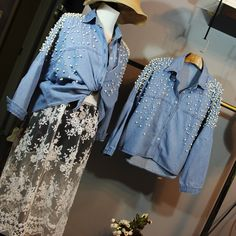 Aliexpress.com : Buy ASYMSAY 2017 Spring New Loose Women Blue Cowboy Shirt Girl's Fashion Pearl Beaded Jean Outwear Coat Jackets AZ9303 from Reliable coat jacket suppliers on Asymsay Store