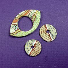Spirit Hole Ceramic Clay Pendant and Disc Beads Jewelry