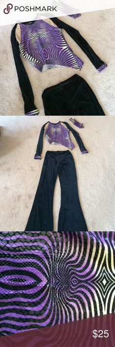 Dance Costume Pre loved dance costume in excellent condition. Perfect for tap or jazz! Black velvet pants, asymmetrical top and tie headband. Original owner initials written on tag. By Curtain Call Costumes. Size adult small. Curtain Call Costumes Other