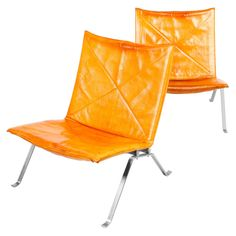 """1960s Two """"PK 22"""" Easy Chairs in Patinated Leather 