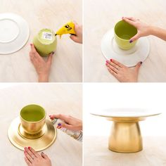 Creating your own gold cake stand is a cinch with this easy DIY. Creating your own gold cake stand is a cinch with this easy DIY.Could be useful if we find cheap dollar store or thrift store things?Wedding Cakes Diy Decorating Dessert Tables For 2019 Diy Wedding Cake, Wedding Desserts, Wedding Ideas, Trendy Wedding, Wedding Themes, Summer Wedding, Wedding Cupcakes, Wedding Reception, Wedding Dessert Tables