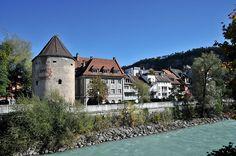 Wassertum and the Ill River, Feldkirch, Vorarlberg, Austria