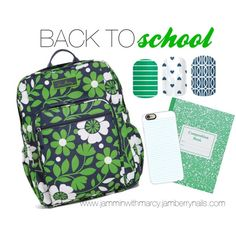 head back to school in style with Jamberry acessorize your nails with non toxic wraps from Jamberry. visit www.jamminwithmarcy.jamberrynails.com for more details  Back to School in Style: Preppy by marcy-grauer on Polyvore featuring polyvore fashion style Vera Bradley Casetify