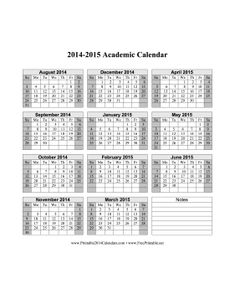 2014-2015 Academic Calendar free to download and print