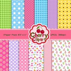 Birthday owls Digital Papers Pack for Card Design by Cherryclipart, $2.50