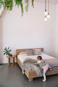 Little White on the Mr & Mrs White Beam Bed #beam #bed #linen #home #sheepskin #bedroom #furniture #design
