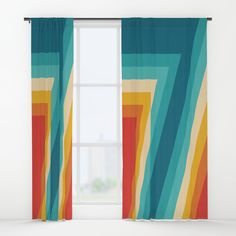 Buy Colorful Retro Stripes  - 70s, 80s Abstract Design Window Curtains by pelaxy. Worldwide shipping available at Society6.com. Just one of millions of high quality products available. Rainbow Curtains, 70s Decor, Home Decor, Blinds Ideas, Stripes, House Design, Retro, Abstract, Outdoor Decor