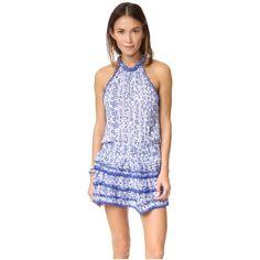 Poupette St Barth Eva Mini Dress (6,535 MXN) ❤ liked on Polyvore featuring dresses, blue button, short dresses, halter-neck tops, halter mini dress, halter neck dress and short ruffle dress